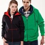 Contrast hooded zip sweatshirt